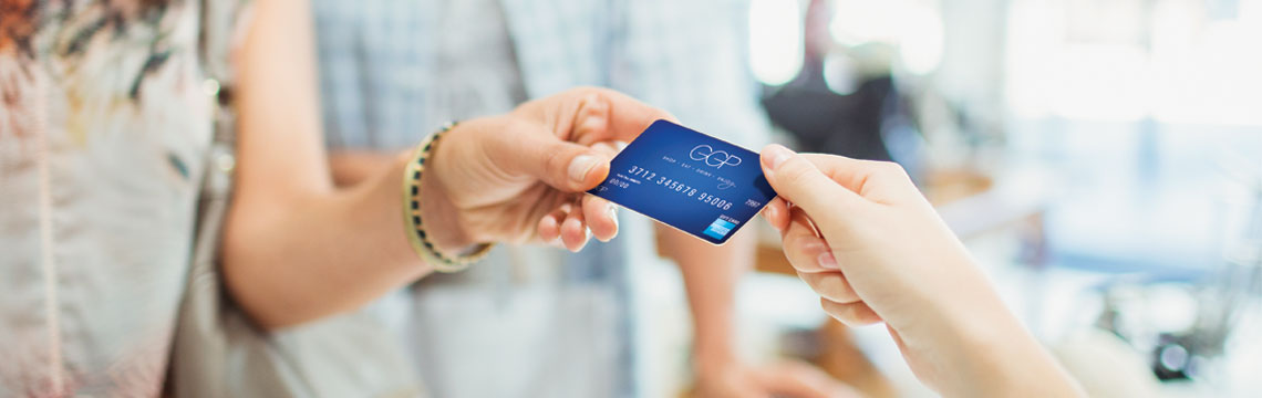 A shopper paying for a purchase with a GGP gift card